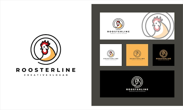 Rooster line art creative livestock logo template