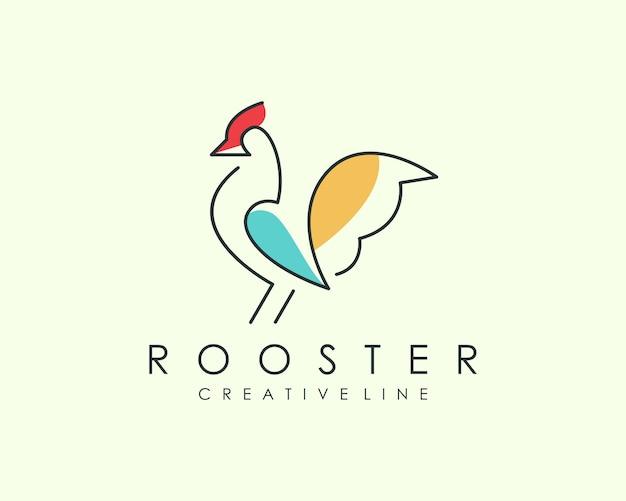 Rooster line art logo