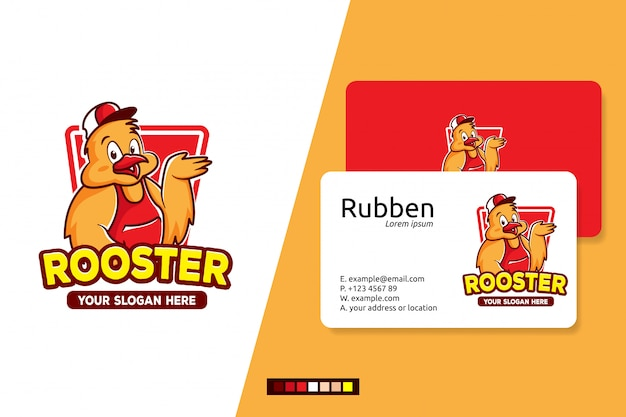 Rooster logo cartoon character Premium Vector