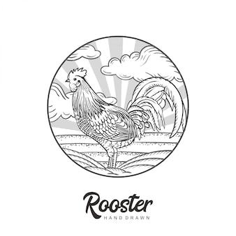 Петух логотип рисованной вектор