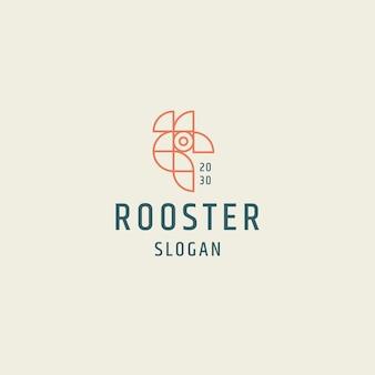 オンドリのロゴアイコンデザインフラットテンプレートベクトルイラスト