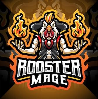 Rooster mage esport mascot logo design