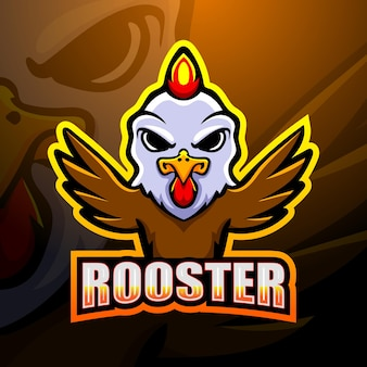 Rooster mascot esport illustration
