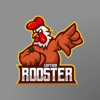 Rooster mascot logo design  . the captain's rooster for e-sport team