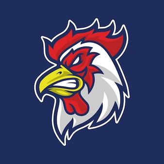 オンドリのマスコットのロゴのデザイン
