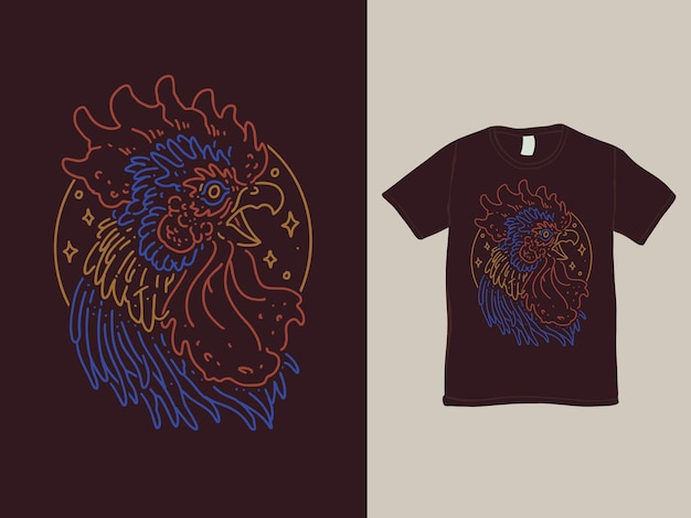 The rooster monoline shirt design