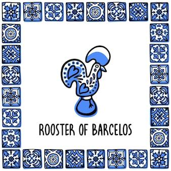Петух барселуша - символ португалии Premium векторы