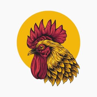 黄色の丸のロゴのオンドリ