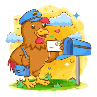 Rooster postman holding mail and bag