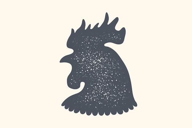 Петух, птица. винтажный логотип, ретро-принт, плакат для мясной лавки, силуэт петуха или курицы. этикетка шаблон птицы, курицы.