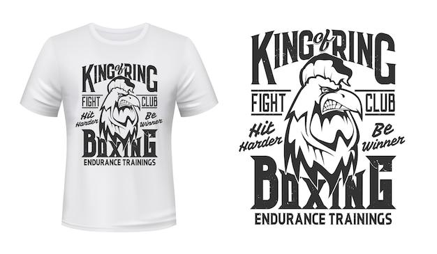 ルースタープリントのtシャツ、ボクシングファイトクラブのエンブレム。怒っているオンドリコックマスコットボックスまたはキックボクシングの格闘クラブ、tシャツプリントのhit harderおよびbe winnerスローガン