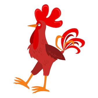 Rooster red cock vector animal.