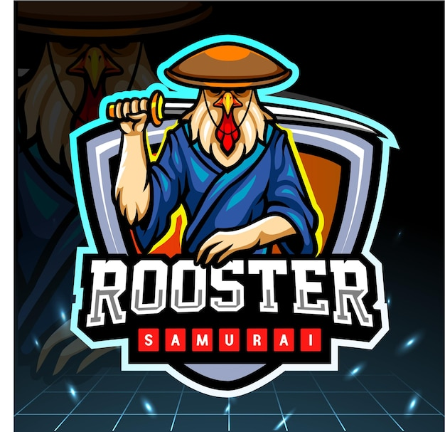 Петух самурай талисман киберспорт дизайн логотипа