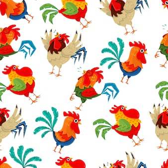 Rooster seamless pattern. vector wallpaper