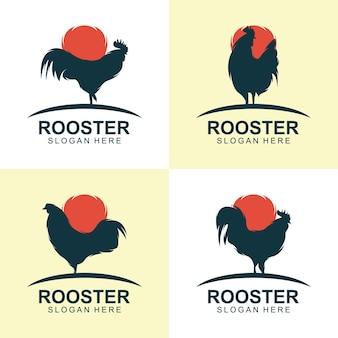 オンドリのシルエットのロゴデザインベクトル