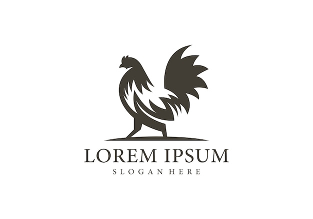 Rooster silhouette logo template