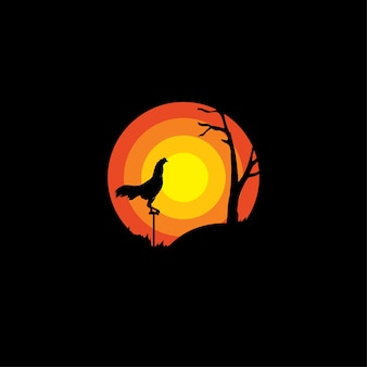 Rooster silhouette logo