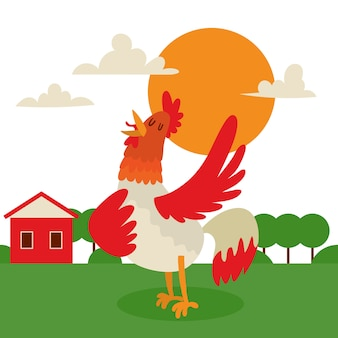 Rooster singing or performing song on country land background