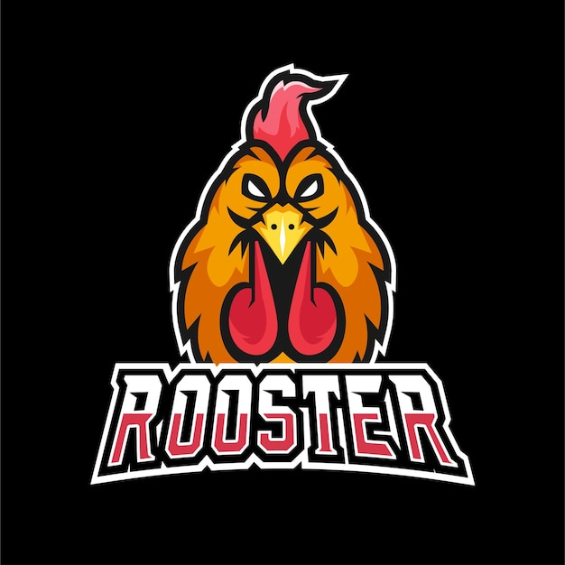 Rooster sport and esport gaming mascot logo