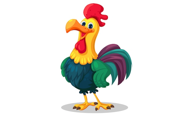 Rooster standing vector illustration