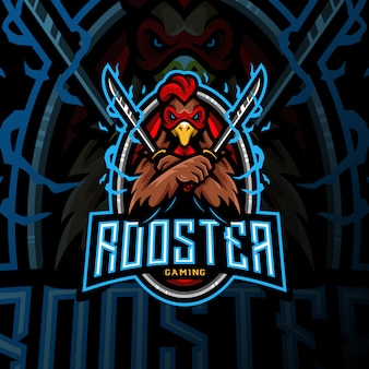 Rooster sword mascot logo esport gaming ilustration