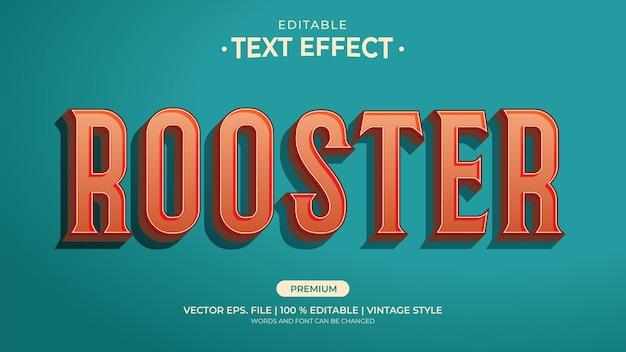 Редактируемые текстовые эффекты в винтажном стиле петуха