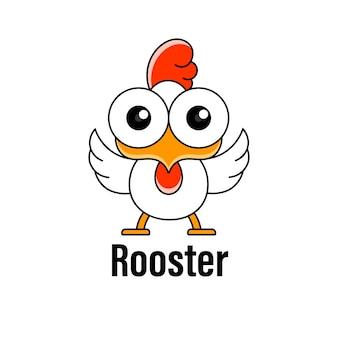 Петух с большими глазами в мультяшном стиле с иллюстрацией логотипа с надписью rooster