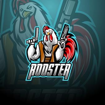 Rooster with gun mascot logo design
