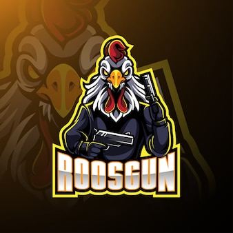 Rooster with gun mascot logo