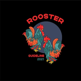 Roosters illustration for tshirts