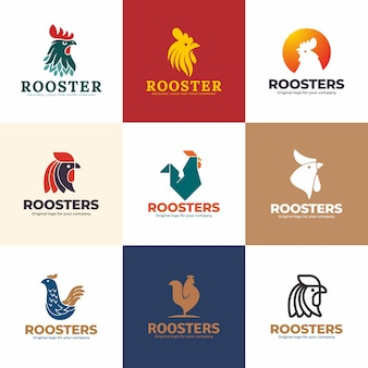Roosters logo design template. creative unique logo design collection.