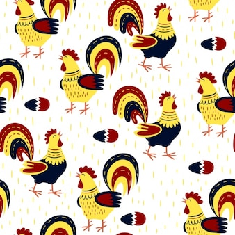 Roosters pattern design