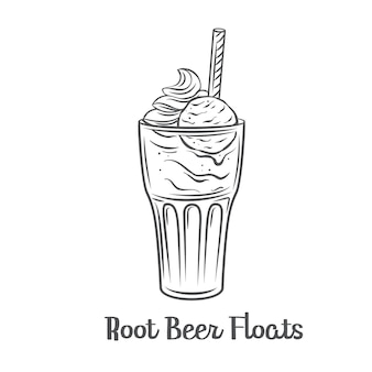 Root beer floats outline   icon. drawn american dessert drink.