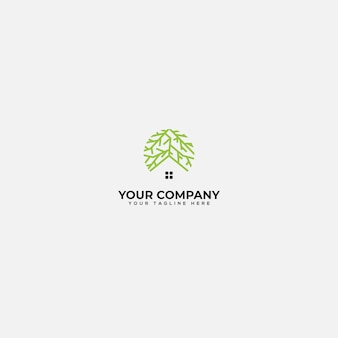Root and home logo, green house and root logo
