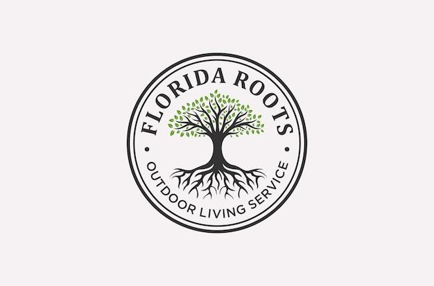 생활 서비스 로고 디자인의 루트 또는 나무.