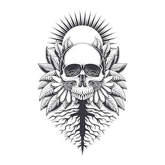 Иллюстрация украшения корня черепа