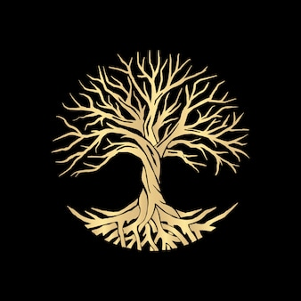 Root or tree, tree of life vector symbol with a circle shape. beautiful illustration of isolated root with gold color