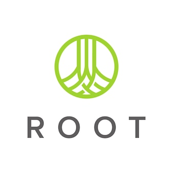 Root with circle ring outline simple modern logo design vector