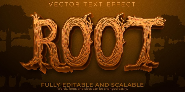Root wooden text effect, editable natural and green text style
