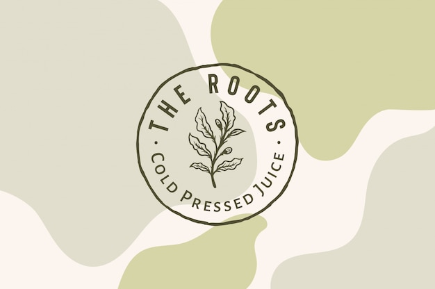 The roots cold pressed juice logo template fully editable with color
