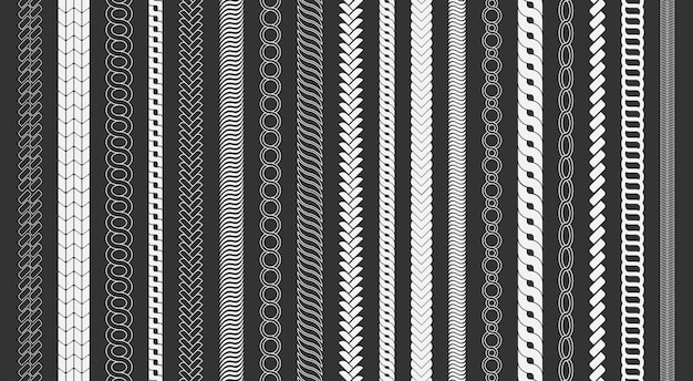 Rope brushes frame, decorative black line set. chain pattern brushes set braided rope isolated on black background. thick cord or wire elements.