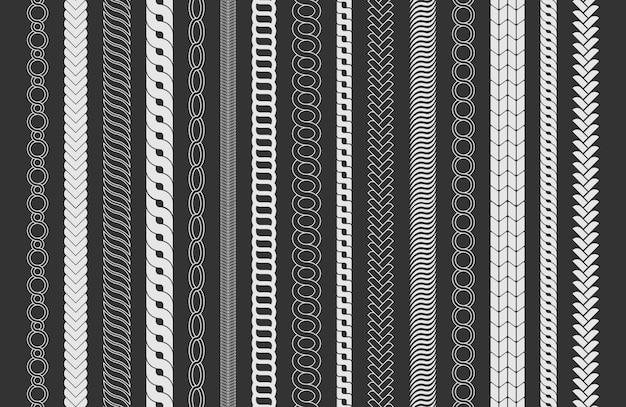 ロープブラシフレーム、装飾的な黒い線のセット。チェーンパターンブラシは、黒の背景に分離された編みこみのロープを設定します。太いコードまたはワイヤー要素。