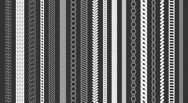 ロープブラシフレーム、装飾的な黒い線のセット。チェーンパターンブラシは、黒い背景に分離された編みこみのロープを設定します。太いコードまたはワイヤー要素。