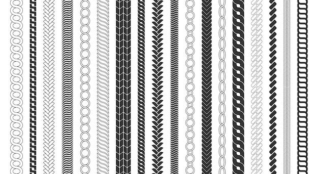 ロープブラシフレーム、装飾的な黒い線のセット。チェーンパターンブラシは、白い背景で隔離の編みこみのロープを設定します。太いコードまたはワイヤー要素。