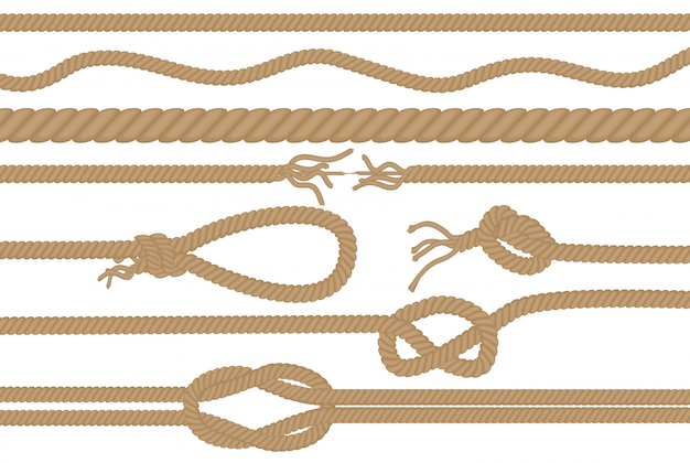 Rope brushes with different knots set