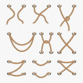 Rope and cable lacing vector nautical decoration