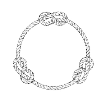Rope circle - round rope frame with knots, vintage style