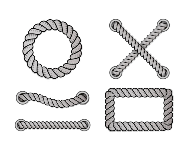 Rope for decoration and covering, nautical twisted rope knots.