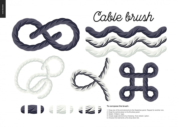 Rope element vector brush with end elements