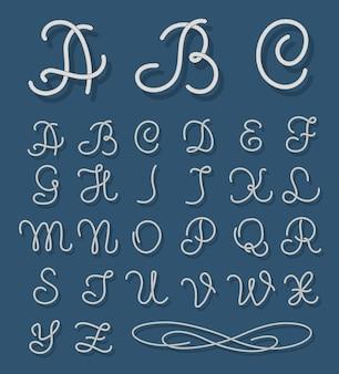 ロープフォント。航海アルファベットロープ手描き文字。アルファベットの活版印刷のヴィンテージ、ロープと文字列の書体